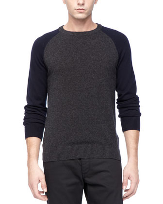 Baseball Sweater in Dark Charcoal Wool