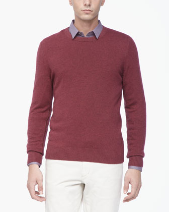 Cashmere Crewneck Sweater, Red