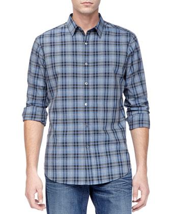 Woven Sport Shirt, Blue Check