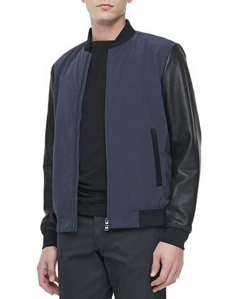Two-Tone Baseball Jacket, Eclipse