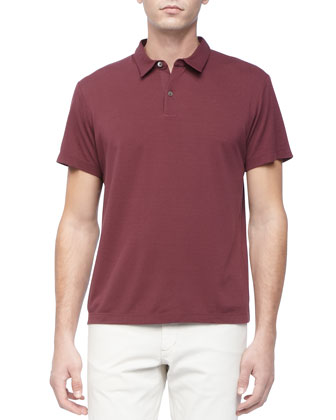 Bron Woven-Collar Polo, Deep Red