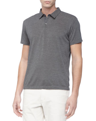 Short-Sleeve Polo, Charcoal