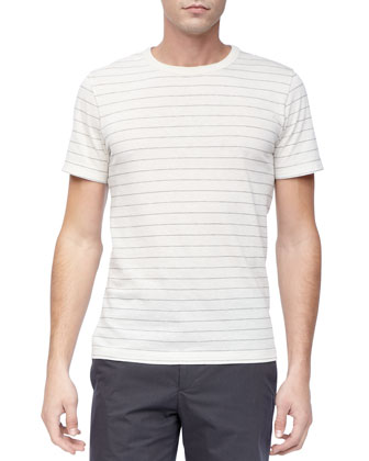 Striped Crew Neck Tee, Cream