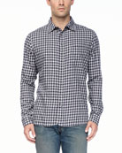 3/4-Placket Long-Sleeve Shirt, Gray/Navy