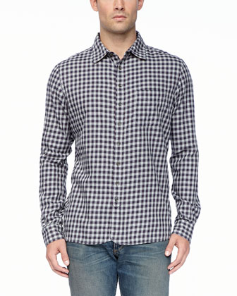 3/4-Placket Long-Sleeve Shirt, Gray/Navy