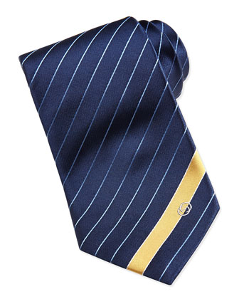 Striped Silk Tie, Blue/Yellow