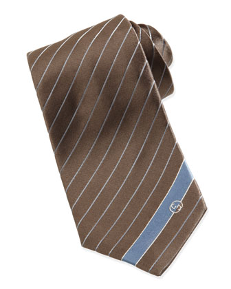 Striped Silk Tie, Brown/Blue