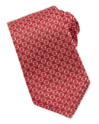Silk Jacquard GG Tie, Red
