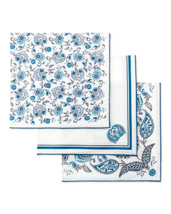 Set of Three Pocket Squares in Box, White/Blue