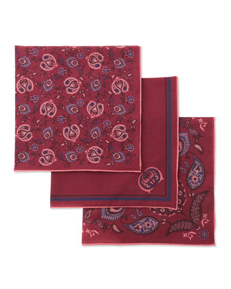 Set of Three Pocket Squares in Box, Pink