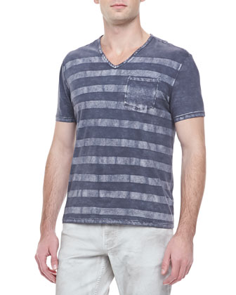 Printed-Stripe V-Neck T-Shirt, Light Gray