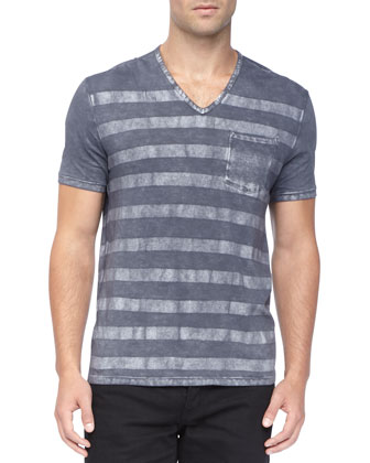 Striped Slub-Knit V-Neck Tee, Blue