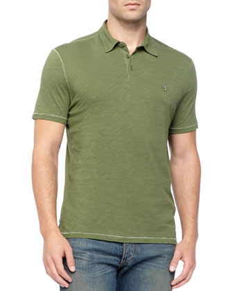 Pickstitched Slub Polo, Green