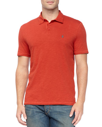 Pickstitched Slub Polo, Red