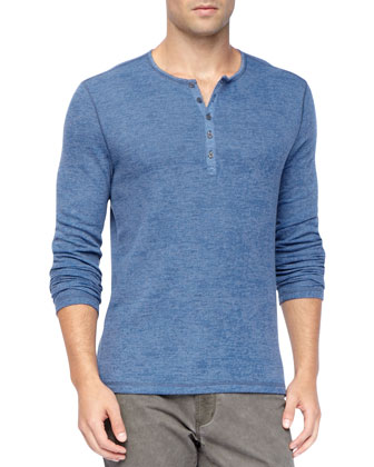 Long-Sleeve Burnout Waffle Henley, Blue