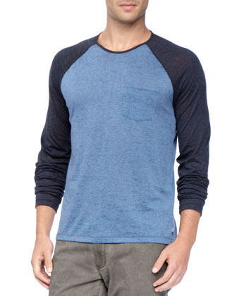 Raglan-Sleeve Crew Neck Tee, Blue/Black