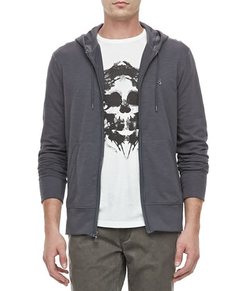 Peace Sign Zip Hoodie, Skull-Inkblot Short-Sleeve Tee & Bowery Denim Pants