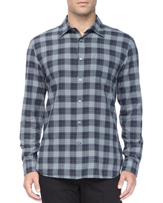 Long-Sleeve Plaid Shirt, Navy/Gray