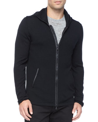 Leather-Trim Zip Hoodie, Crewneck Tee & Basic Denim Jeans