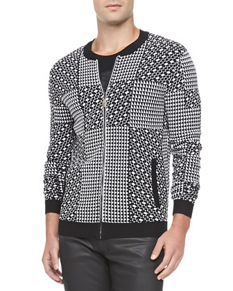 Geometric Patch Jacket, Black/White