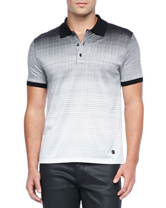 Pindot Ombre Polo, Black/White