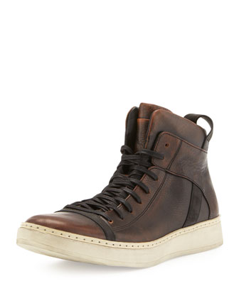 Burnished Leather High-Top, Brown