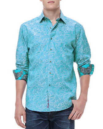Lost and Found Jacquard Shirt, Blue