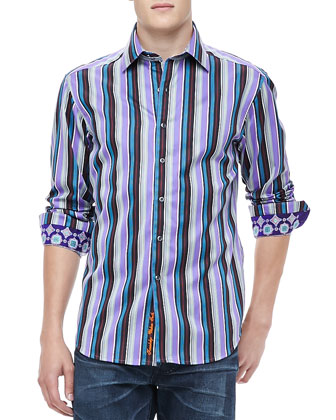 Schoolhouse Stripe Shirt, Purple