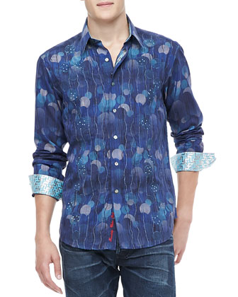 Benitoite Embroidered Sport Shirt Blue