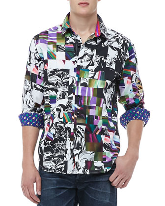 Sir Neil Abstract Print Shirt, Multi