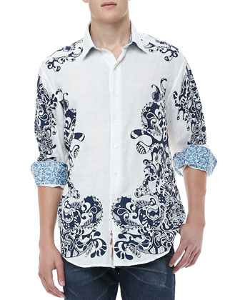 Savanna Frame Print Shirt, White