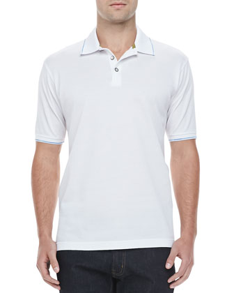 McEnroe Space-Dye Tipped Polo, White