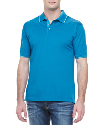 McEnroe Space-Dye Tipped Polo, Mosaic Blue
