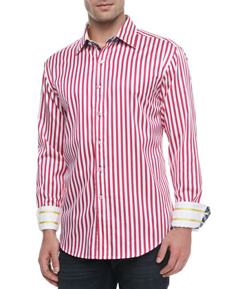 Balik Striped Shirt, White/Fuchsia