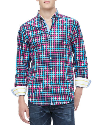 Foreshore Plaid Shirt, Turquoise
