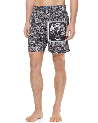 Paisley Swim Trunk, Black
