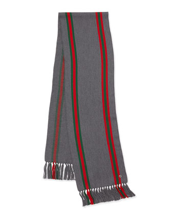 Lightweight Wool Stripe Scarf, Gray