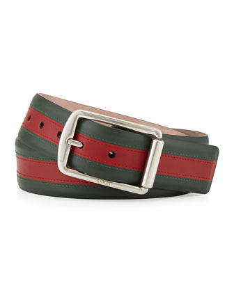 Signature Web Leather Belt, Green/Red/Green