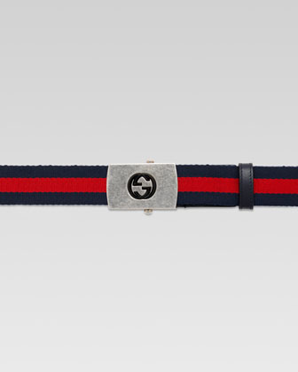 Nylon Web Belt with Plaque Buckle, Blue/Red/Blue