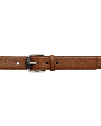 Bamboo-Buckle Leather Belt, Tan