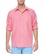 Linen Long-Sleeve Shirt,  Pink