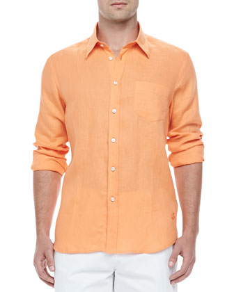 Long-Sleeve Button-Up Linen Shirt, Tangerine