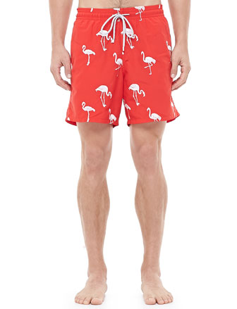 Mistral Embroidered Flamingo Swim Trunk, Red
