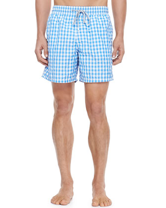 Morio Gingham Swim Trunk, Blue