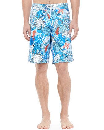 Ocean Reef Print Boardshorts, Blue Multi
