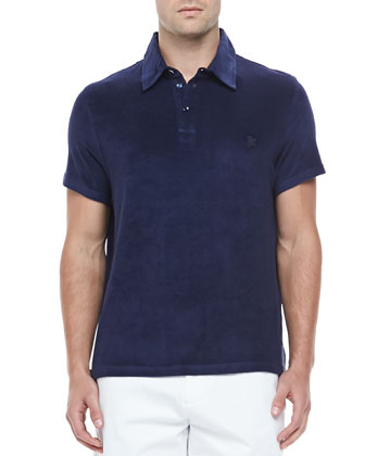 Short-Sleeve Terry Polo, Navy