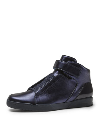 Mel Metallic High-Top Sneaker, Blue