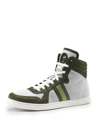 Nylon & Suede High-Top Sneaker, Olive