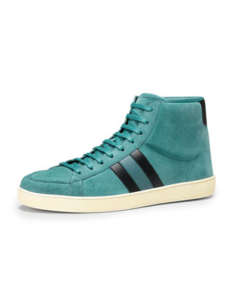 Suede High-Top Sneaker, Turquoise