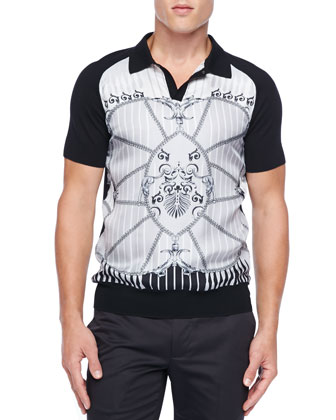 Silk Knit Polo, Black/White